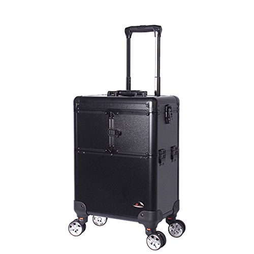 Friseur-trolley Box (TaoMi Homw- Trolley Kosmetik Fall Hochleistungs-Multi-Layer Kosmetik Fall Make-up Artist Box mit der Make-up-Box - Schwarz)