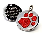 Engraved 25mm Glitter Paw Print Dog Pet ID Tag Disc.......TO LEAVE ENGRAVING DETAILS PLEASE READ PRODUCT DESCRIPTION LOWER DOWN THIS PAGE. (Red)