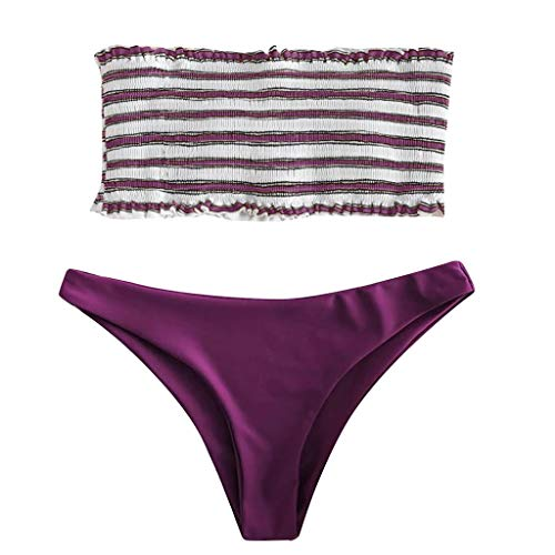 Bfmyxgs Mode 2 STÜCK Frauen Sexy Bademode Bikini Stilvolle Anzug Streifen Push-Up Sexy Gepolsterte Bade Beachwear