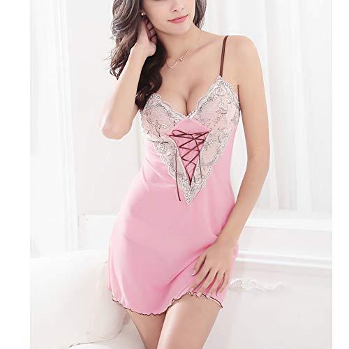 LXXQ Sexy Dessous Feminine Sling Pyjamas Babydoll Leidenschaft Anzug Spitze Backless Nightgown Höschen Zweiteilige Set Verführerische Unterwäsche Schlafkleidung,Pink