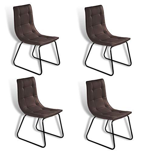 ESTEXO Retro Esszimmer Stuhl Modell Rakel Dunkelbraun 4er Set