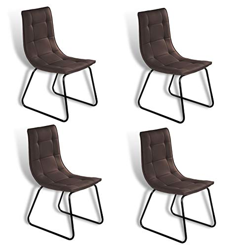 ESTEXO Retro Esszimmer Stuhl Modell Rakel Dunkelbraun 4er Set (Braun Hohe Rückenlehne Esszimmer Stuhl)