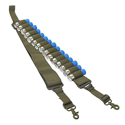 Sangle Tactique 2points Shotgun 15Coque Ammo Support ceinture à Munitions 12GA Shotgun Shell Slings Pistolet Militaire en nylon Sangle de rangement, Green