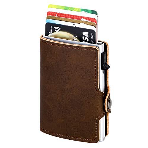 Kartenetui | Kreditkartenetui mit Geldklammer | Kreditkarten etuis | Leder Geldbörse Slim Wallet Portmonee | Geldbeutel mit RFID Schutz