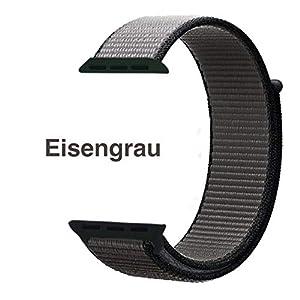 Nylon Armband für Apple Watch in Eisengrau 42/44mm passend für Apple Watch 1 2 3 4 5