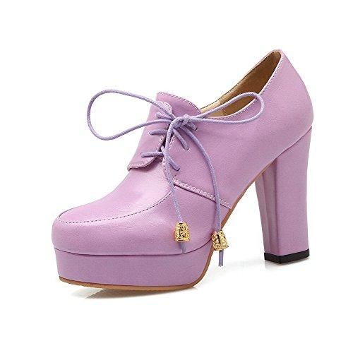 AgooLar Femme Couleur Unie Matière Souple à Talon Haut Lacet Rond Chaussures Légeres Violet