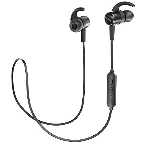 TaoTronics Bluetooth Kopfhörer 4.1 In Ear Wireless Headset mit Magnet bis zu 9 Stunden Spielzeit Spritzerfest CVC 6.0 Geräuschunterdrückung MEMS Mikro 15g kompatibel mit iOS Android Geräten (Bluetooth Kopfhörer Für Android)