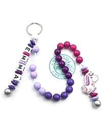 LALALO Mädchen Rechenkette mit Namen, Kette für die Grundschule / Schulanfang, Lernmittel rechnen bis 20 mit Schlüsselring