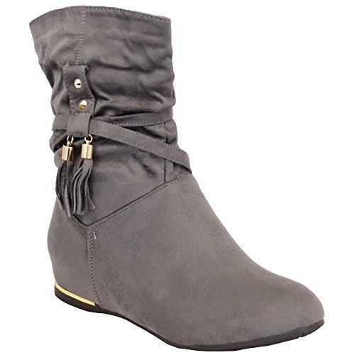 Donna Camoscio Look Stivali donna mezzo polpaccio scarpe zeppa caviglia zip Nappa Inverno NUOVO Grigio - ab0226