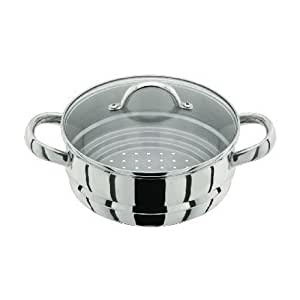 Horwood J x 12 16/18/20 cm Steamer Insert with Glass Lid, Silver