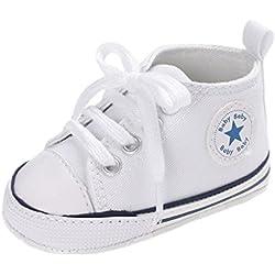 Auxma Zapatos Para Bebé La Zapatilla de Deporte Antideslizante del Zapato de Lona de La Zapatilla de Deporte Para 3-6 6-12 12-18 M (3-6 M, Blanco)