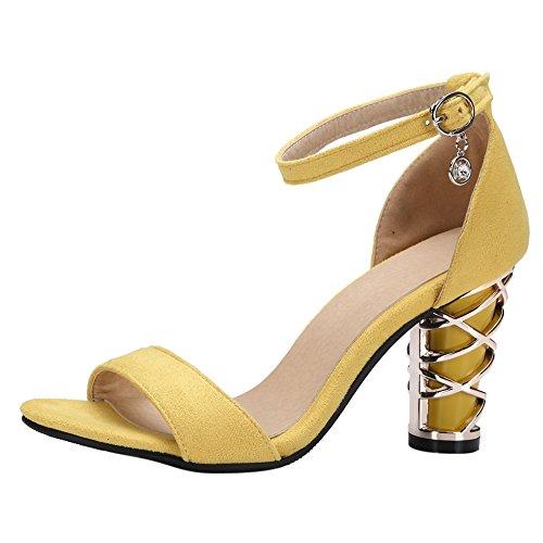 Damenschuhe Open Toe Sandalen High-Heel Blockabsatz Knöchelriemchen Gelb