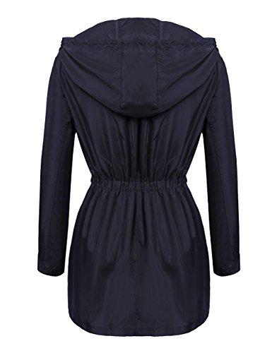 Damen Übergangsjacke, Pagacat Funktionsjacke Wasserdicht Atmungsaktiv mit Kapuze Tasche Regen Mantel S-XXL Blau