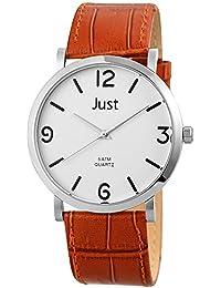Just Watches Herren-Armbanduhr XL Analog Quarz Leder 48-S10307BR-WH