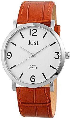 Just Watches 48-S10307BR-WH - Orologio da polso uomo, pelle, colore: marrone