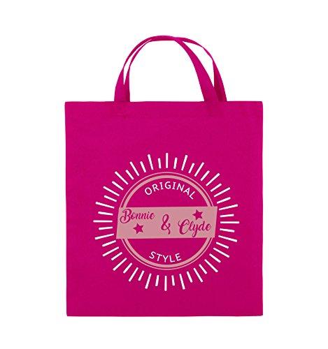 Borse Da Commedia - Stile Bonnie & Clyde Originale - Lucentezza Del Motivo - Borsa In Juta - Manico Corto - 38x42cm - Colore: Nero / Bianco-neon Verde Rosa / Rosa-bianco