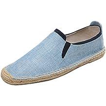 Jitong Hombre Casual Zapatos de Lino Punta Redonda Slip on Alpargatas Outdoor Suave Mocasines Planos