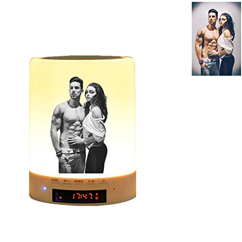 Luz de foto personalizada Lámpara de sobremesa multicolor con altavoz Bluetooth luz nocturna de color regulable, regalo para los niños amigos de la familia (black and white)