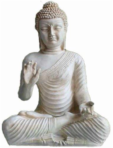 Große Buddha Figur in Elfenbein-Optik (Elfenbein-figur)