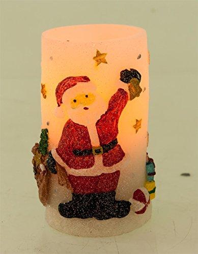 Noveste candele a led con funzione timer di natale candela luci, albero di natale senza fiamma luci decorative, 14,5x 9,5cm babbo natale