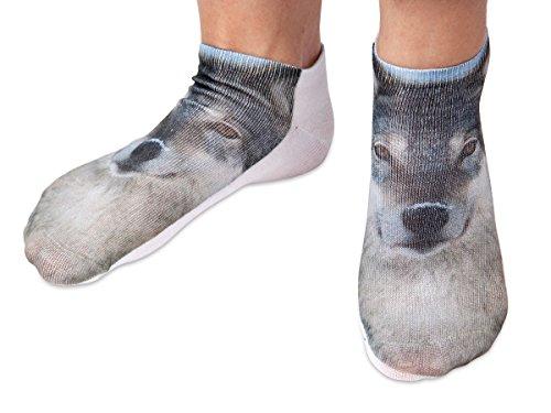 Chaussettes courtes: Socquettes avec motifs Taille: 36 - 39 pour femme ou Ados fille garçon Une petite touche d'humour, d'amour, de tendresse, de fantaisie, et surtout d'originalité, choisir:loup SO-14