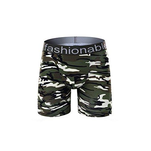 Kingko® Mode kurze Baumwolle Camouflage Unterwäsche Short Boxer Unterhose (XL, Armeegrün) (Camouflage Spandex Shorts)