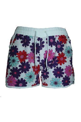 BEACH FLOWER Damen Badeshorts VERSCHIEDENE FARBEN mit Blumen Hawaii Muster, Hot Pants, Hipster Größen M=36 L=38 XL=40 Style-5