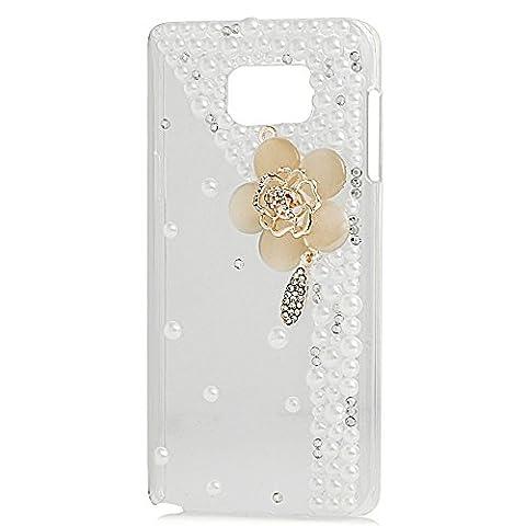 Evtech (tm) Champagne Diamante Blumen-Blüten-Blumen-Diamant-Perlen Strass Kristall Bling Bling Glitter Fashion Style Transparency Back Cover (Handcrafted Perle)