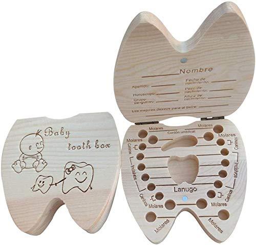 AIUIN 1X Caja Almacenamiento Madera Almacenaje Para Dientes De Leche Regalo de amor para Little Nephew Versión Español(Contiene pinzas pequeñas)