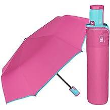 Paraguas Plegable Mujer - Mini Paraguas Compacto Antiviento y Ligero - Resistente con tratamiento TEFLON -