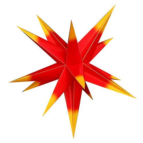 55 cm - Außenstern - Komplettset incl. Kabel & Glühbirne Outdoor Adventsstern Weihnachtsstern 3D Faltstern mit 15 Zacken rot-gelb