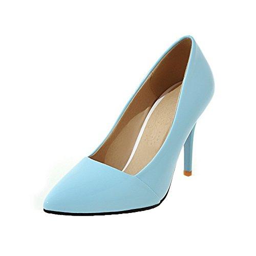 AgooLar Damen Ziehen auf High-Heels Schließen Zehe Rein Pumps Schuhe, Blau, 40