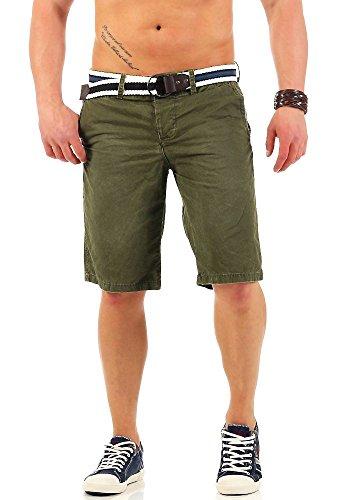 JetLag Herren Chino Shorts kurze Hose 17-146 Stoff-Gürtel knielang olive W31