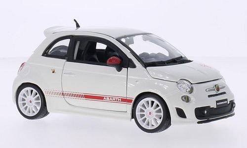 Fiat Abarth 500 esseesse, schwarze Felgen, weiss/rot, Abarth, 2011, Modellauto, Fertigmodell, Bburago 1:24 (Rote Und Schwarze Felgen)
