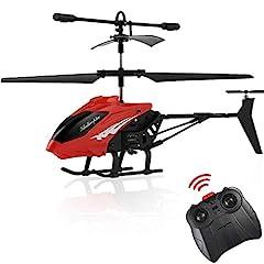 Idea Regalo - FPVRC XY803 3.5CH Elicottero Telecomandato Piccolo per Bambini con Gyro & LED - RTF (Rosso)