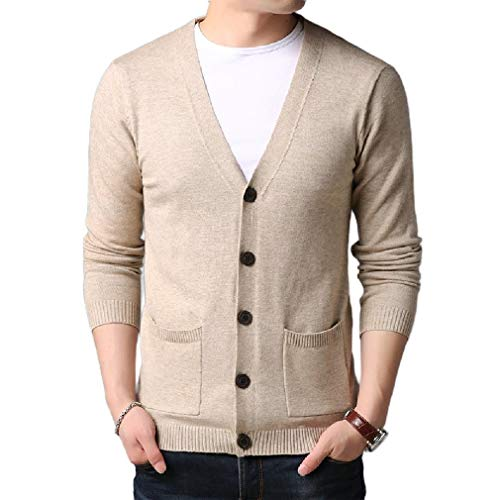Womens V-neck Argyle Pullover (CuteRose Mens V-Neck Pure Colour Cardigan Cozy Relaxed Pullover Top Blouse Beige 2XL)