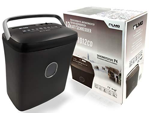 Aktenvernichter Kreuzschnitt - 12 Blatt mit riesen 21L Behälter - Sehr schneller Premium Hochsicherheits Schredder für vertrauliche Dokumente, mit Haltegriff - Automatischer Einzug mit CD-Fach- DSGVO