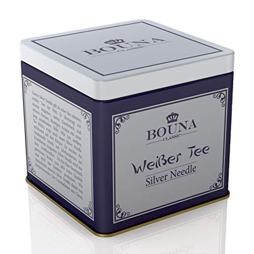 Bouna Classic Weißer Tee Silver Needle 25g Detox-Tee | Abnehm-Tee | Entschlackungstee zum Stoffwechsel Anregen, Schnell und Effektiv Entschlacken und Vegan Abnehmen
