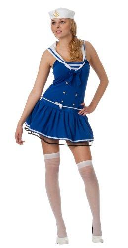 spass42 Damen Kostüm Kleid und Strümpfe Matrose Seemann Marine Navy Matrosin Marine Look Groesse: - Seemann Mädchen Kostüm