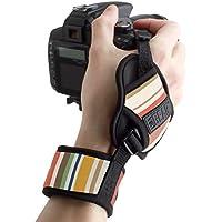 Empuñadura de Muñeca correa de Mano para Cámara de fotos Réflex por USA GEAR como Canon,Nikon,Sony,Pentax y muchas más.Diseño con Rayas