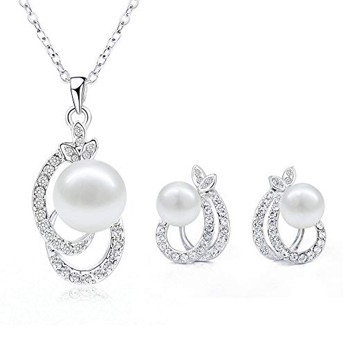 Juego de collar y pendientes de perlas
