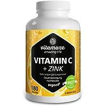 """Vitamina C altamente concentrada, 180 comprimidos veganos de 1000 mg + bioflavonoides + zinc, suficientes para 6 meses, producto de calidad """"made in Germany"""" sin estearato de magnesio, GARANTÍA DE REEMBOLSO 100%"""