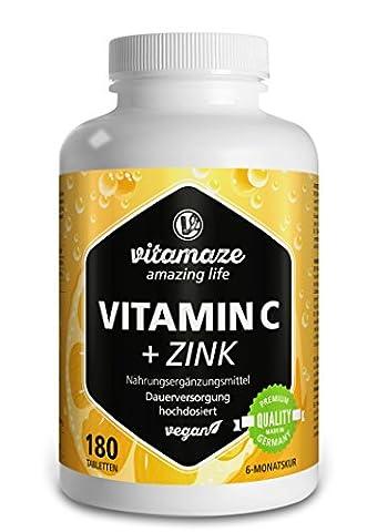 Vitamine C fortement dosée 1000 mg + bioflavonoïdes + zinc,