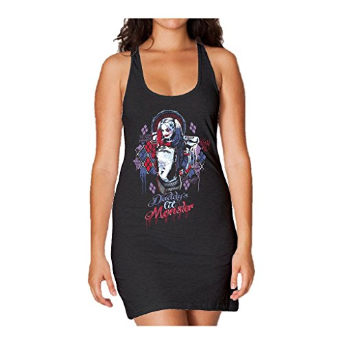 Suicide Squad DC Harley Lil Monster Official Women's Long Tank Dress (Black) (X-Large)