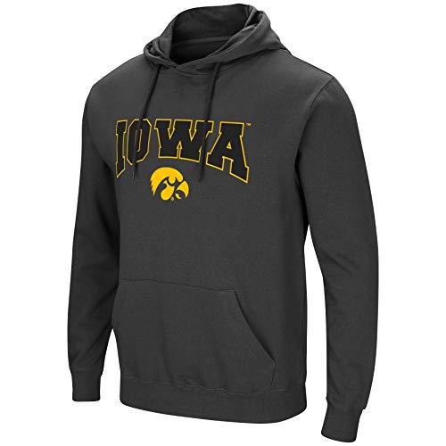 Colosseum Herren NCAA-Scoreboard-Dual Blend-Fleece Kapuzenpullover Sweatshirt mit Tackle Twill Bestickt Teamname und Logo, Anthrazit, Herren, Iowa Hawkeyes, Large (Hawkeyes Iowa Baseball)