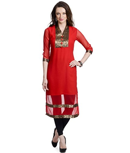 Fusion Multicolor Cap Half Long Short Sleeve sleeveless Kurtis Kaftan for Girls (GT1-KVG-RG-XXL)