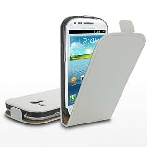 Tasche für Samsung Galaxy S3 mini i8190 / i8200 Hülle Cover Etui Flip Case weiß