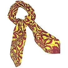 I was a Sari Women Wraparound Foulard (IWA-000036-10_Yellow & Red Color_H100 x L100 Cm)