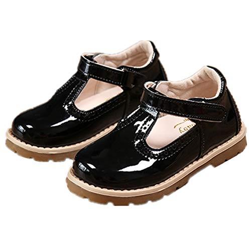 (Chickwin Prinzessin Schuhe mädchen Sandalen Sommer Strand Flach Schuhe Elastischen PU Leder Urlaub Gemütlich Flache Schuhe Party (25=EU:22.5=150mm, Schwarz))