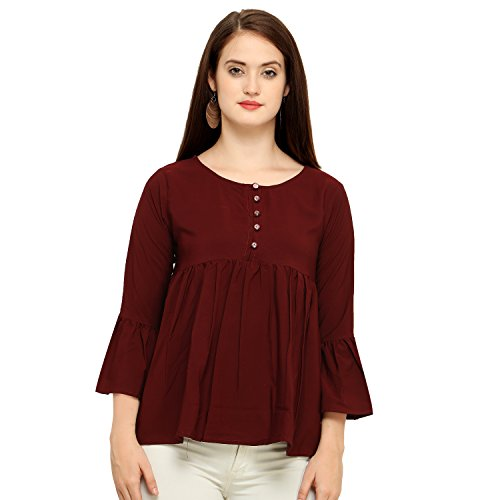 J B Fashion Women's Plain Regular Fit Top (D NO-101-XL_Red_X-Large)